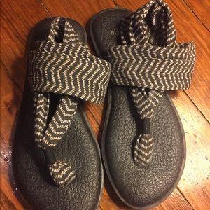 Sanuk yoga sling sandals.